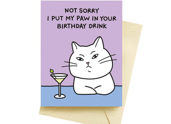 Cat Martini Birthday Card