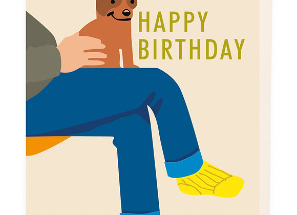 Dog On Lap Birthday Card