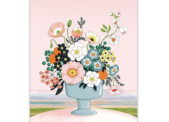Flower Vase Blue Pink Card