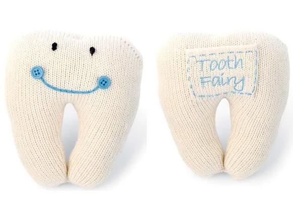 Blue Knit Tooth Pillow