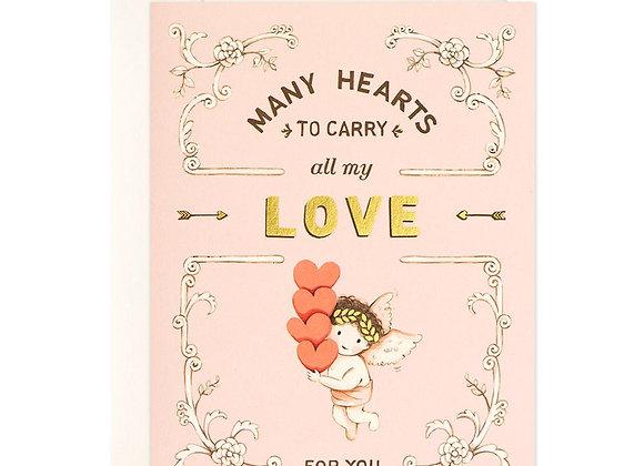 Cupid And Many Hearts Card