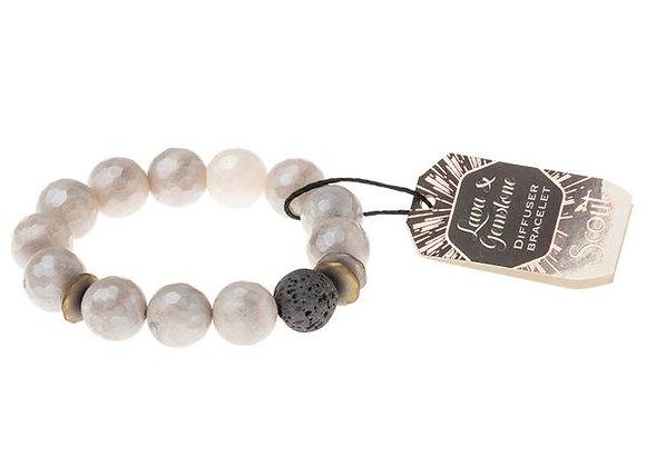 Lava & Gemstone Diffuser Bracelet Champagne