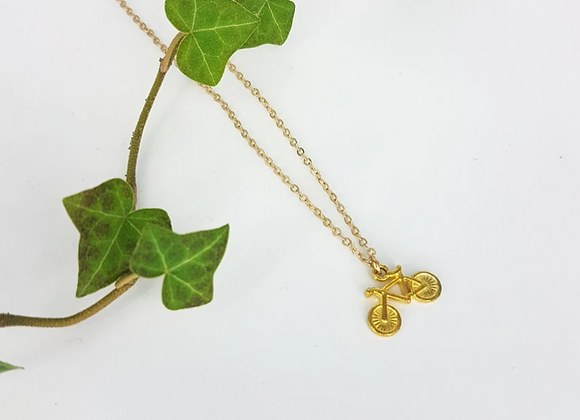 Fixie Tiny Bicycle Charm Necklace Gold