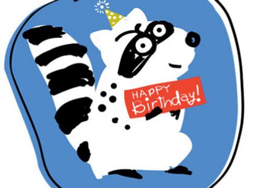 Raccoon Birthday Card