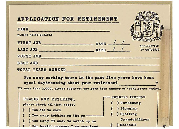 Retirement Application Card