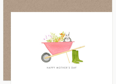 Bunny In Wheelbarrow Mother's Day Card