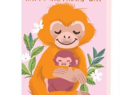 Baby Monkey & Mum Mother's Day Card