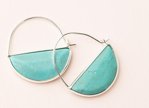 Stone Prism Hoop Earring Turquoise Silver