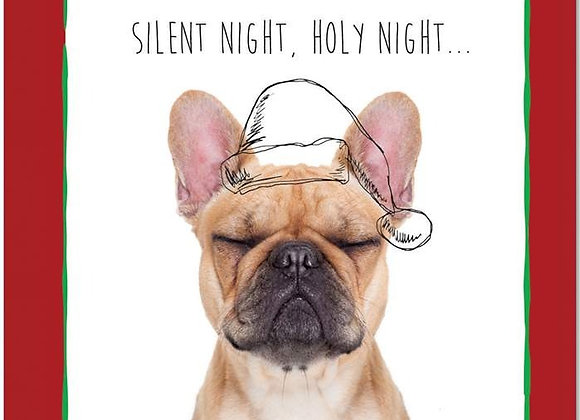 Silent Night, Holy Night Frenchie Christmas Card