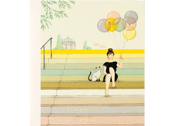 Girl On Stairs Birthday Card