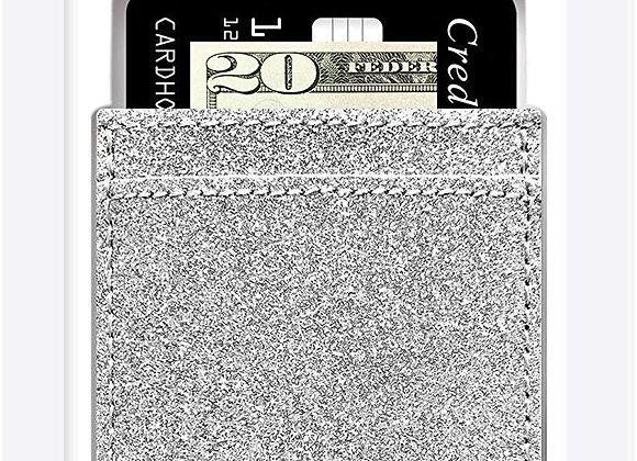 Phone Pocket Stick On Phone Case Silver Glitter