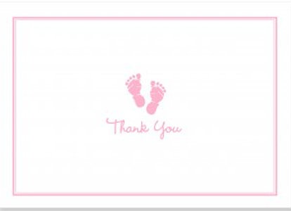Baby Steps Thank You Notecards (Pink)