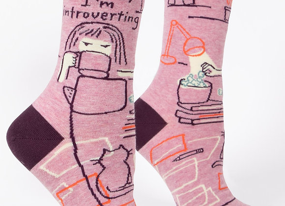 Women's Crew Socks Go Away I'm  Introverting
