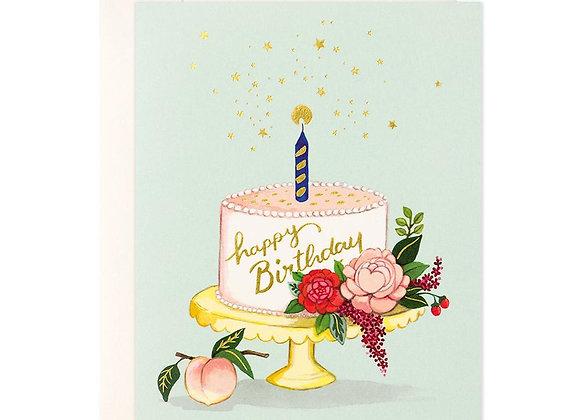 Peach Cake Birthday Card
