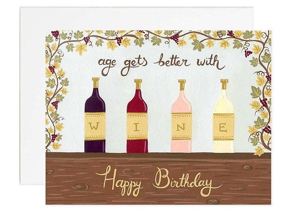 Aged Wine Birthday Card