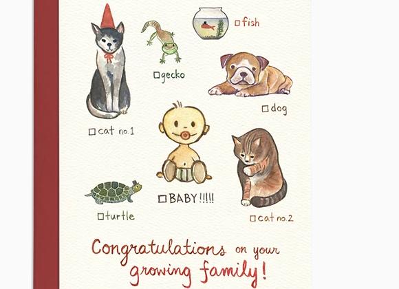 Cat Dog Baby Card