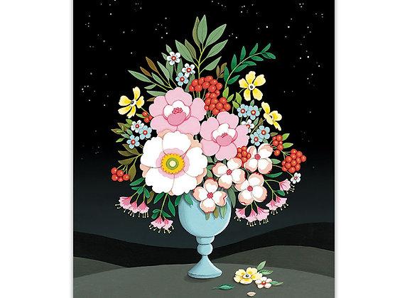 Flower Vas Night Sky Blank Card