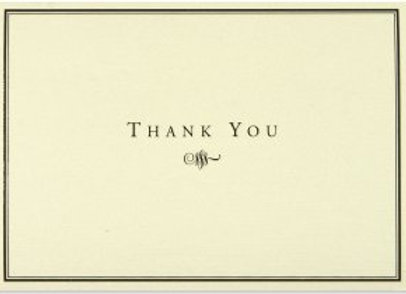 Black & Cream Thank You Notecards
