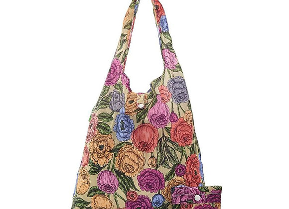 Shopping Tote Green Peonies
