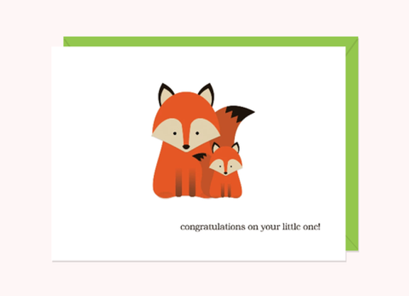 Foxes Congratulations On Your Little One Card by Halifax Paper Hearts