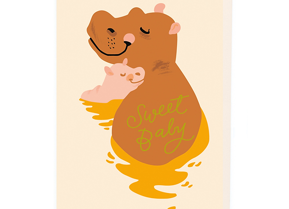 Sweet Hippo Baby Card