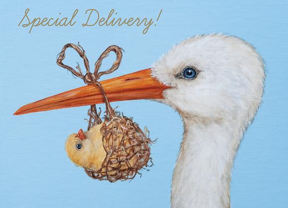 Baby Stork Gold Foil Card