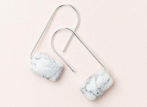 Floating Stone Earring Howlite Silver
