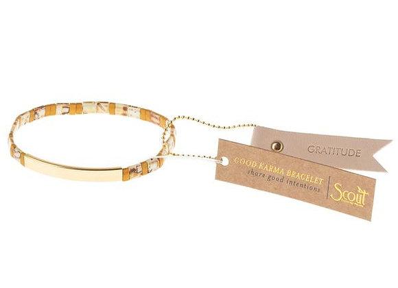 Good Karma Miyuki Bracelet Gratitude Amber Gold
