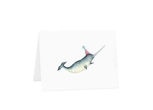 Narwhal Hat Birthday Card by La Jolee