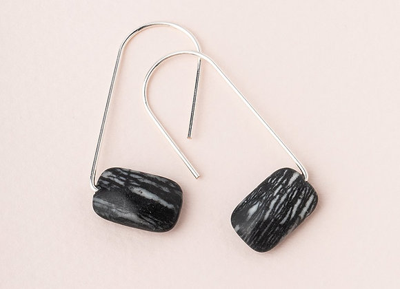 Floating Stone Earring Piscasso Silver