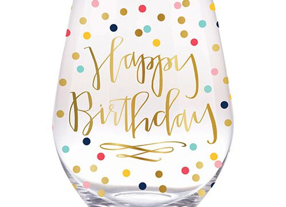 Stemless Wine Glass Confetti Birthday 20oz