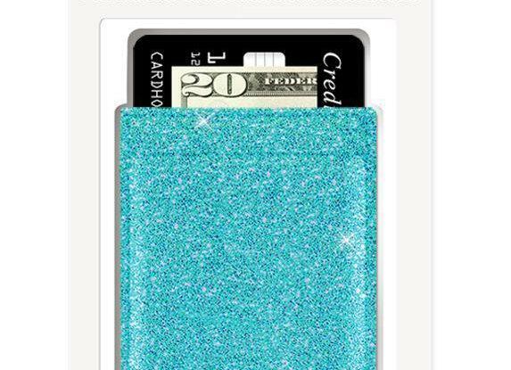 Phone Pocket Stick On Phone Case Turquoise Glitter