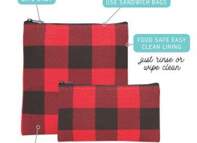 Buffalo Check Snack Bag Set of 2