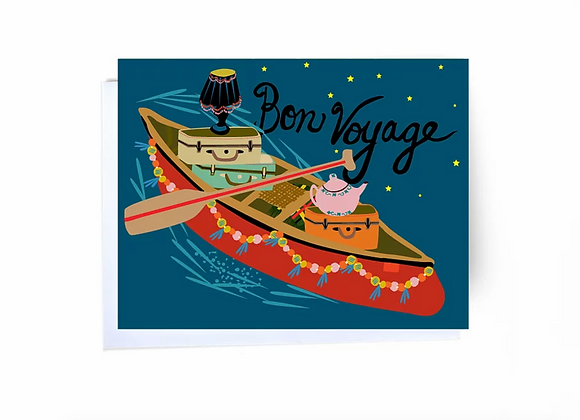 Bon Voyage Suit Cases In Canoe Card