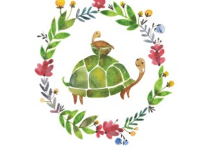 Turtle In Wreath Mother's Day Card