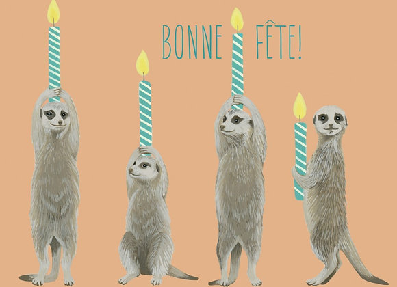Bonne Fete Meerkats and Birthday Candles Card