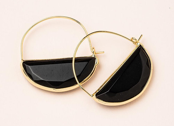 Stone Prism Hoop Earring Black Spinel Gold