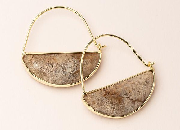Stone Prism Hoop Earring Fossil Coral Gold