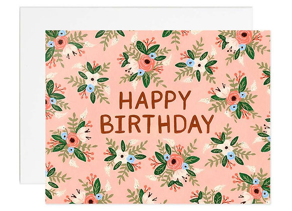 Pink Rose Birthday Card