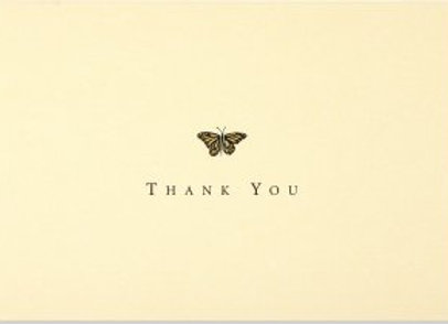 Gold Butterfly Thank You Notecards