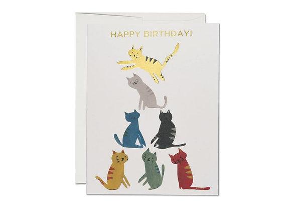 Gold Kitty Birthday Card