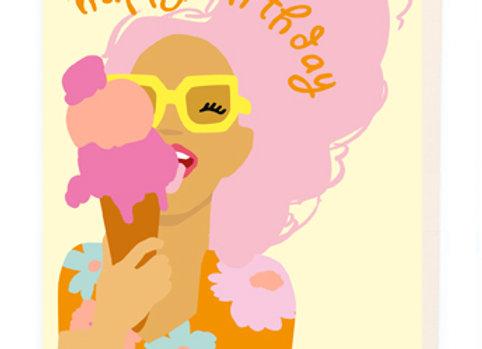 Ice Cream Girl Birthday Card by Noi