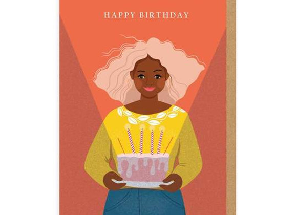 Girl With Cake Birthday Card by Ohh Deer