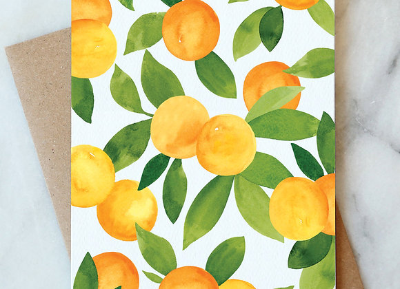 Oranges Blank Card by Abigail Design