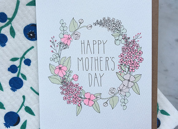 Neon Mother's Day Wreath Card