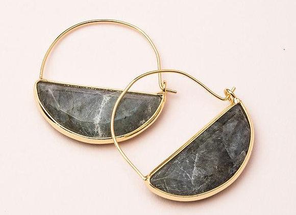 Stone Prism Hoop Earring Labradorite Gold
