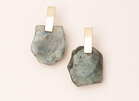 Stone Slice Earring Labradorite Gold