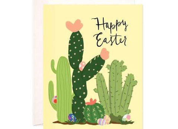 Easter Cactus Field Card