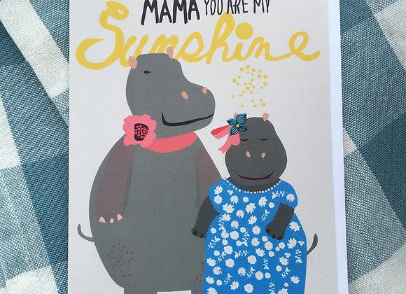 Sunshine Hippo Mama Card