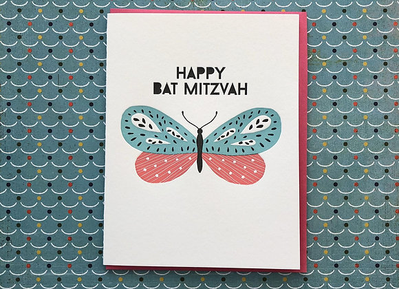 Bat Mitzvah Butterfly Card
